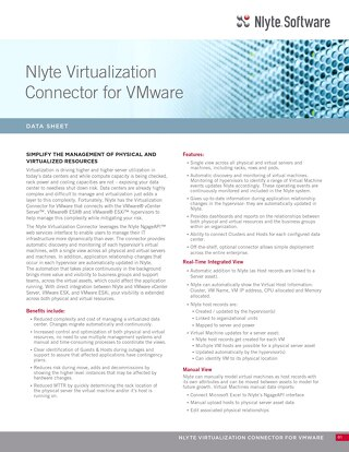 Nlyte Virtualization Connector For VMWare  Data Sheet