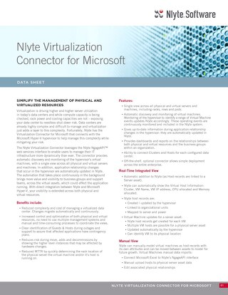 Nlyte Virtualization Connector for Microsoft Data Sheet