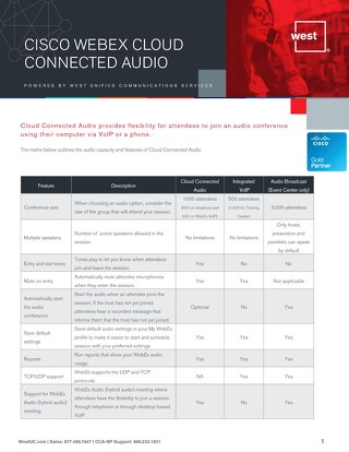 Cisco CCA-SP Audio Features