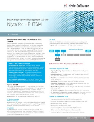 Nlyte for HP ITSM Data Sheet