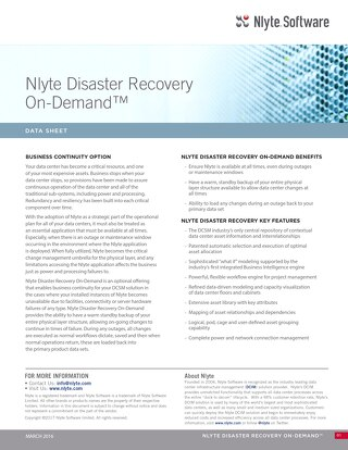 Nlyte Disaster Recovery On-Demand Data Sheet