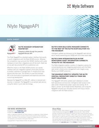 Nlyte Ngage API Data Sheet