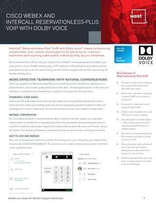 Cisco WebEx and Reservationless-Plus VoIP with Dolby Voice