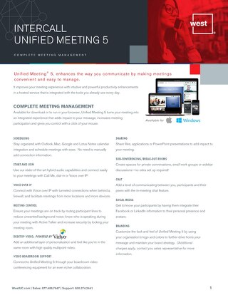 Unified Meeting 5 Overview
