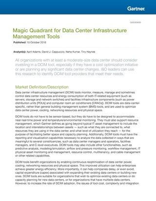 Gartner Magic Quadrant For Data Centers 2016