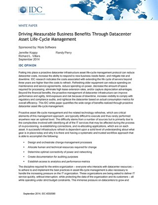 IDC: Driving Measurable Business Benefits Through Datacenter Asset Life-Cycle Management