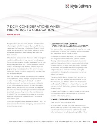7 Data Center Infrastructure Management (DCIM) Considerations When Migrating to Nlyte Colocation