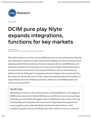 451 Research Claims Nlyte's DCIM Solution Expands Integrations, Functions for Key Markets