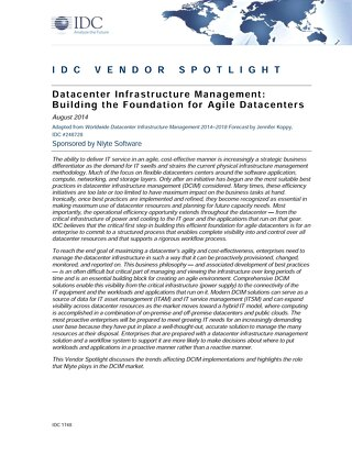 IDC Vendor Spotlight Data Center Infrastructure Management Building the Foundation for Agile Data Centers