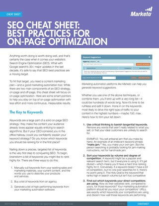 [eBook] Marketo SEO Cheat Sheet On Page Optimization