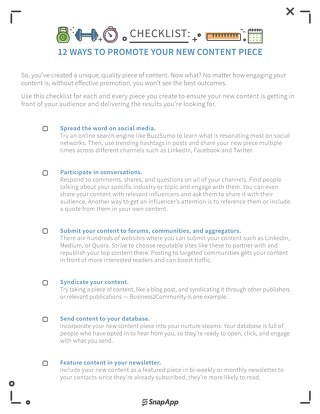 Marketing Fit Promotion Checklist
