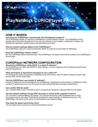 PlayNetwork CURIOPlayerX5 FAQ