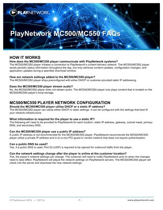 PlayNetwork MC-Series Media Player FAQ