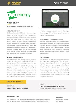 Yieldify case study - Ovo Energy
