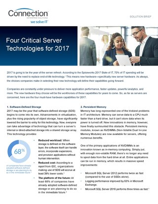 Four Critical Server Technologies for 2017