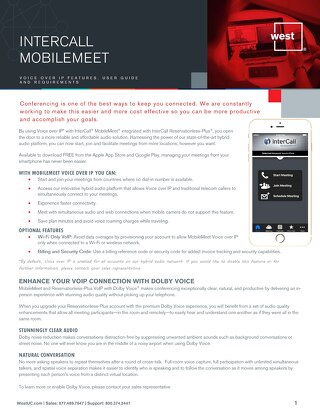 Mobilemeet VOIP Overview User Guide Requirements