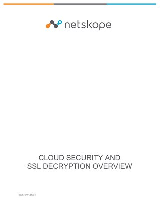 Cloud Security & SSL Decryption Overview