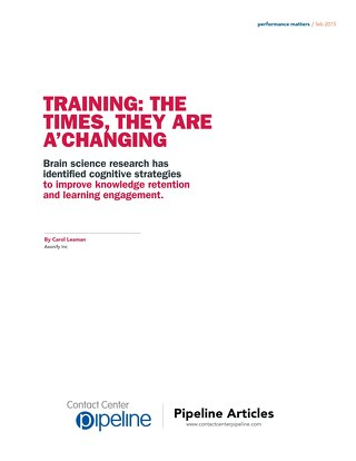 Training: The Times They Are A'Changing