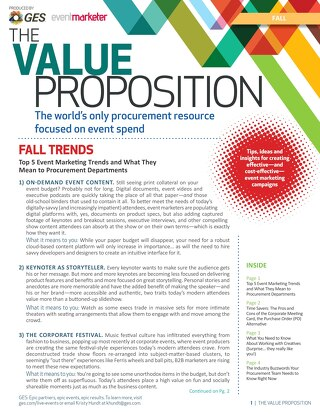 The Value Proposition: Fall Edition