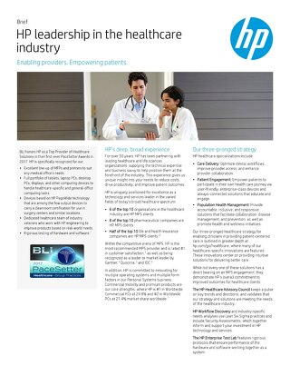 HP Leadership in the Healthcare Industry