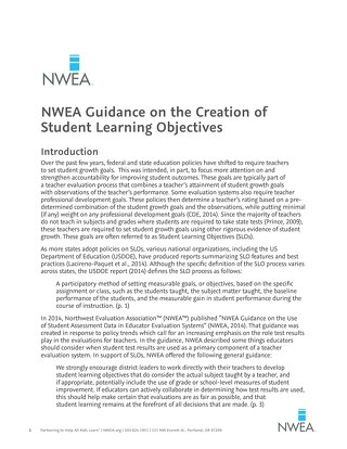 NWEA Guidance on the Creation of Student Learning Objectives