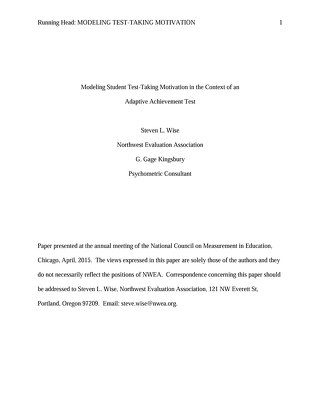 Modeling Student Test-Taking Motivation in the Context of an Adaptive Achievement Test