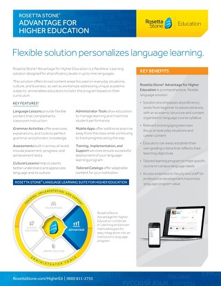 Rosetta Stone® Advantage for Higher Education