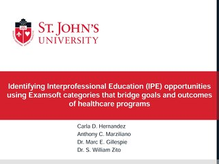 Identifying Interprofessional Education (IPE) Opportunities Using ExamSoft Categories that Bridge Goals and Outcomes of Healthcare Programs