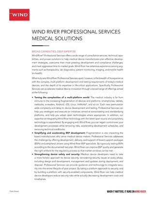 Wind River Professional Services Medical Solutions