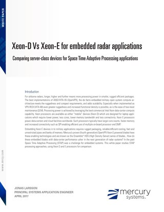 Xeon-D Vs Xeon-E for embedded radar applications: Comparing server-class devices for Space Time Adaptive Processing applications