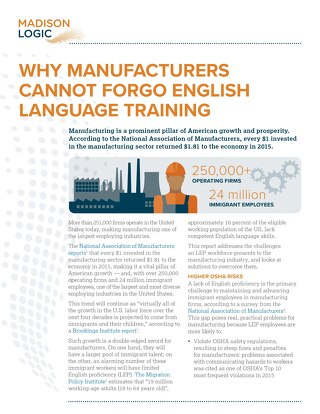 Why Manufacturers Cannot Forgo Language Training