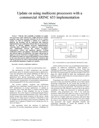 Update on Using Multicore Processors with a Commercial ARINC 653 Implementation
