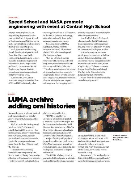 University of Louisville Magazine - SUMMER 2017