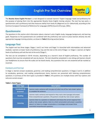 Catalyst English Pre-Test Info Sheet