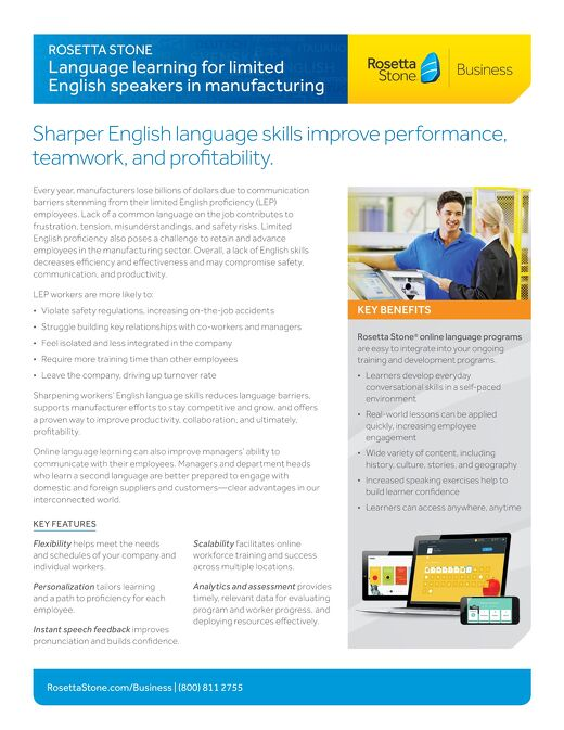 Language Learning for Limited English Speakers in Manufacturing