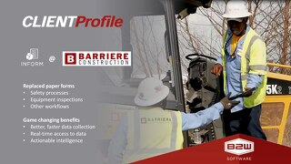Barriere Construction Utilizing B2W Inform