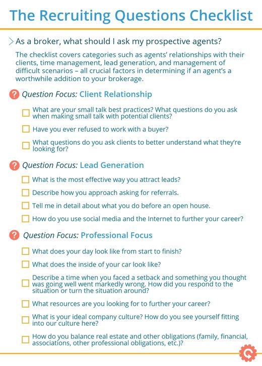 The Real Estate Recruiting Question Checklist