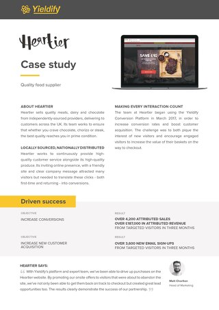 Yieldify case study - Heartier