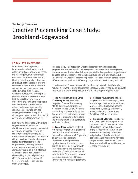 Arts Culture Creative Placemaking Case Study Brookland Edgewood