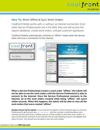 Coolfront Mobile - How to Work Offline