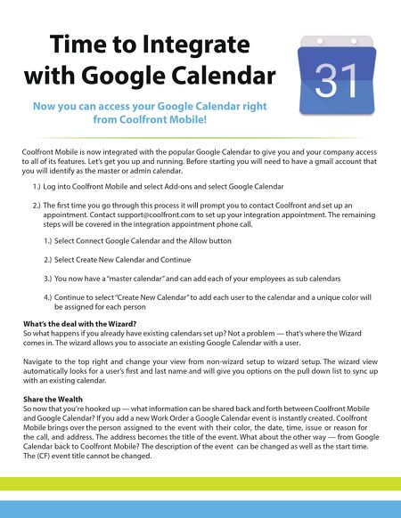 Coolfront Mobile And Google Calendar