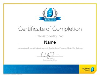 Advanced English for Business Certificate of Completion