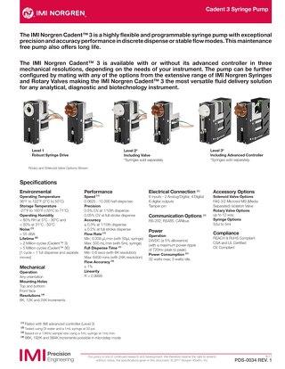 Cadent 3 Pump Datasheet - PDS-0034