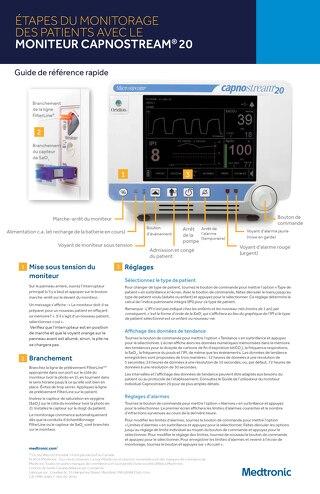Affiche de référence rapide sur le moniteur de patient Capnostream™ 20