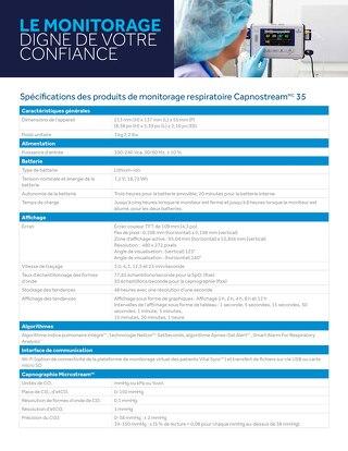 Spécifications des produits de monitorage respiratoire Capnostream™ 35