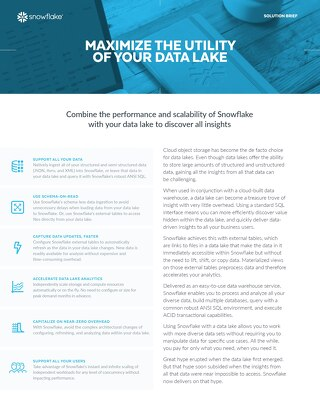 Snowflake Cloud Data Platform for Data Lakes