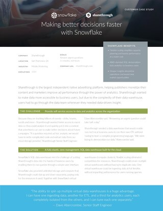 Sharethrough: Improving performance by 2000x with Snowflake