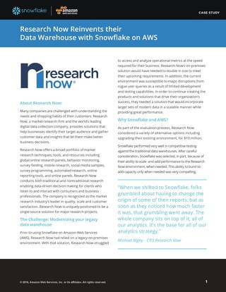 Research Now: Reinventing their data warehouse with Snowflake on AWS