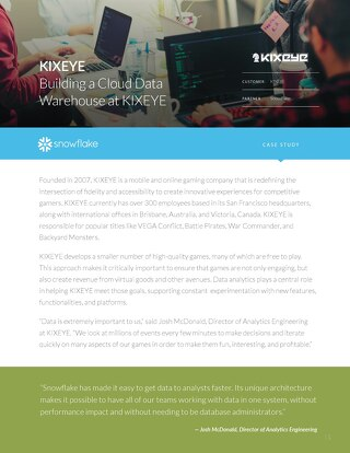 KIXEYE: Simplifying and accelerating their data pipeline with Snowflake