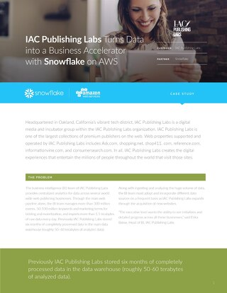 IAC Publishing Labs: Leveraging Snowflake to consolidate a 100 N Hadoop and 36 N legacy data warehouse appliance
